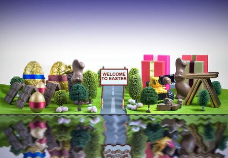 arbol de pascua: Pascua concepto de ciudad