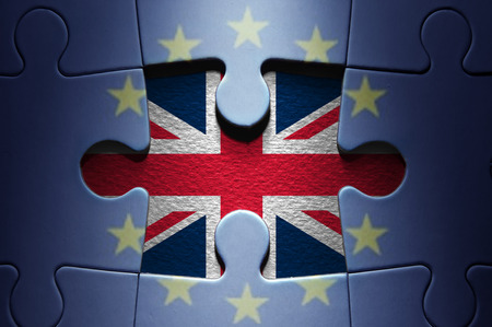 yes or no to euro: European jigsaw puzzle with UK missing piece
