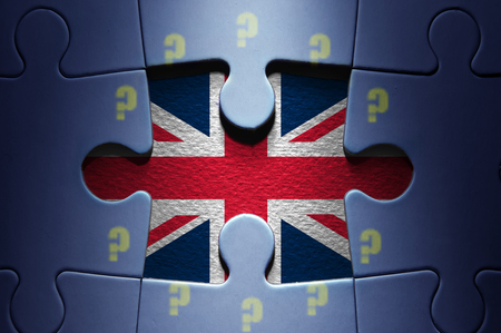 missing piece: Missing piece from a jigsaw puzzle revealing the British flag question mark European flag