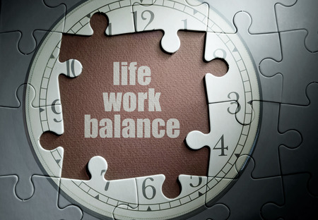 work life balance: Life work balance missing piece from a clock jigsaw puzzle