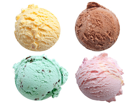 chocolate treats: Four ice cream scoops isolated on a white background including vanilla, chocolate, mint and strawberry