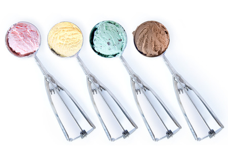 chocolate treats: Ice cream scoops over a white background