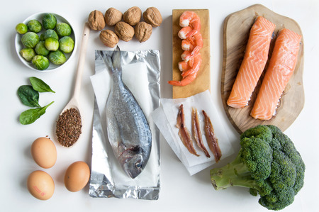omega 3: Omega 3 fatty acid food collection Stock Photo