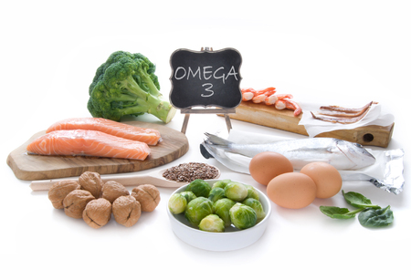 Omega 3 rich foods Stock Photo - 57353015