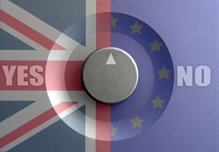 inbetween: Dial pointer inbetween British and European flags with brexit question Stock Photo