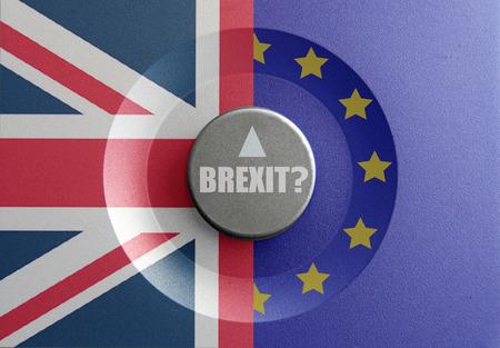 inbetween: Brexit dial pointer inbetween British and European flag