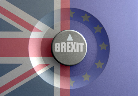 yes or no to euro: Brexit dial pointer inbetween British and European flags