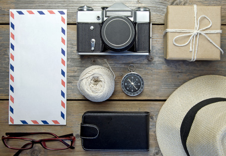 objects: Travel flat lay objects