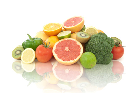 vitamin rich: Vitamin C rich fruits and vegetables Stock Photo