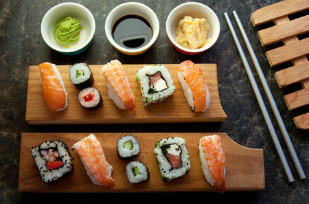 assorted: Selection of sushi including prawns, salmon and vegetables with rice