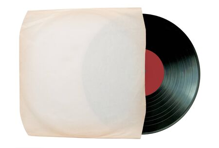 sleeve: Vinyl record inside a white sleeve over a white background Stock Photo