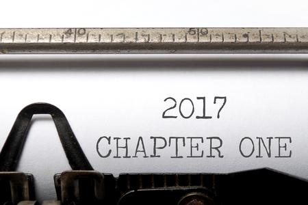 metas: 2017 capítulo uno impreso en una vieja máquina de escribir