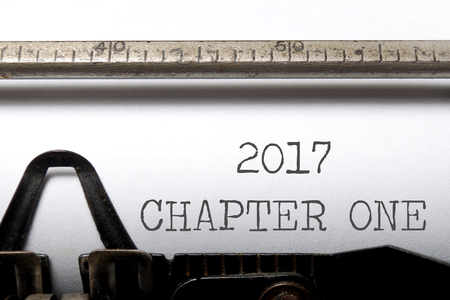 fresh start: 2017 chapter one printed on an old typewriter Stock Photo