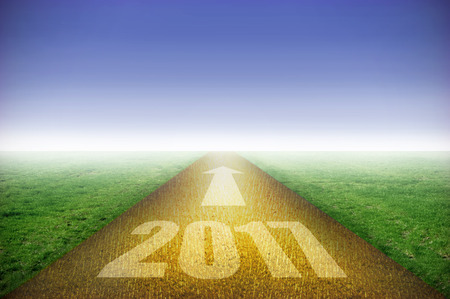fresh start: 2017 on golden road with green grass on each side