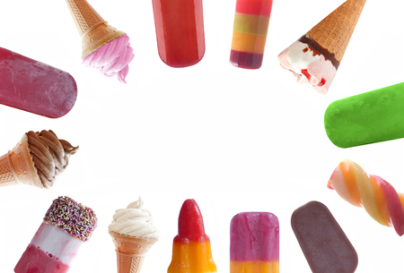 Assorted icecream and frozen lollies over a white background with space Stock Photo