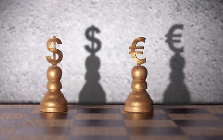 Dollar and euro shadow emerging from currency chess pawns