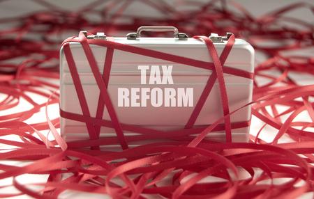 税改革赤テープ コンセプト 写真素材