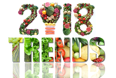2018 trends made of fruits and vegetables including a light bulb icon Reklamní fotografie