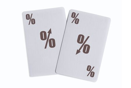 Interest rates up or down playing cards concept