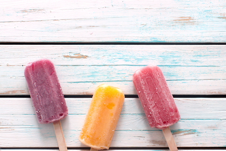 Assorted flavored ice lollies
