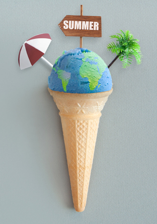 Ice cream cone with atlas map and vacation items including beach post, parasol and palm tree