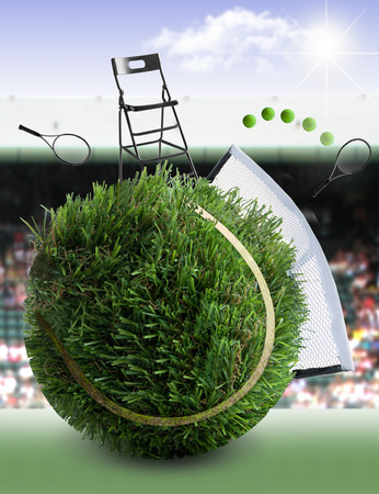 Tennis ball made from grass with net and game, umpires chair and crowd stands in the background