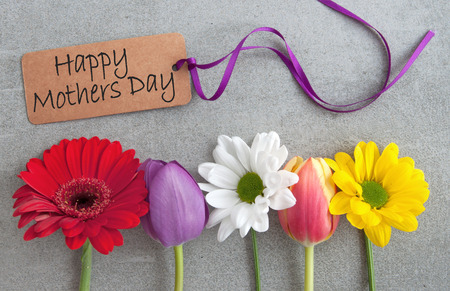 Mothers day greeting with assorted spring flowers Standard-Bild - 119056732