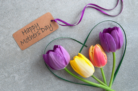 Mothers day greeting with spring tulips inside a heart shape grass stem Standard-Bild - 119056739