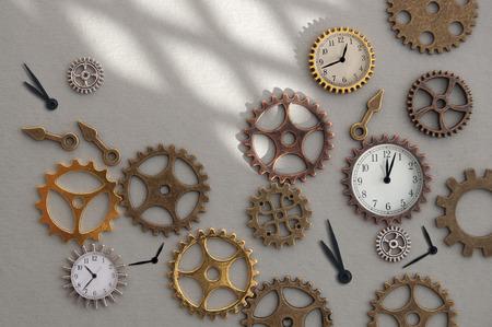 Clock parts including hands gears and cogs Standard-Bild - 121547765