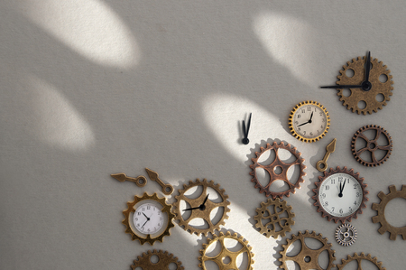 Clock parts including hands gears and cogs with space Standard-Bild - 121547768
