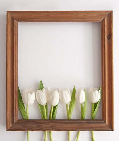 Wooden frame around white spring tulips with space Standard-Bild - 121761604