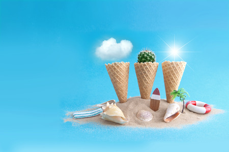 Ice cream cones on a beachy island with summer elements, including clouds, cactus and sun Standard-Bild - 124679919