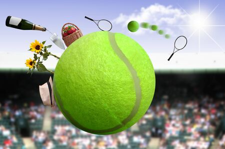 Tennis ball with net and game, and crowds in the background Standard-Bild - 124679971