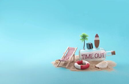 Time out message inside a bottle on sandy island with deck chair, luggage and palm tree Standard-Bild - 124679974