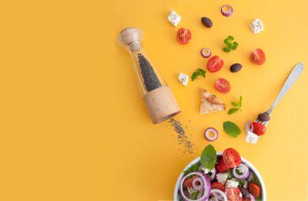 Summer greek salad with feta cheese, kalamata olives and tomatoes