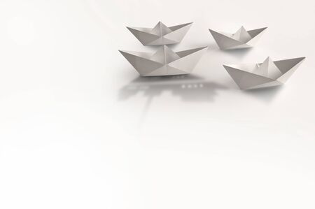 Paper boat with larger shadow of a cruise ship amongst other boats Stock fotó