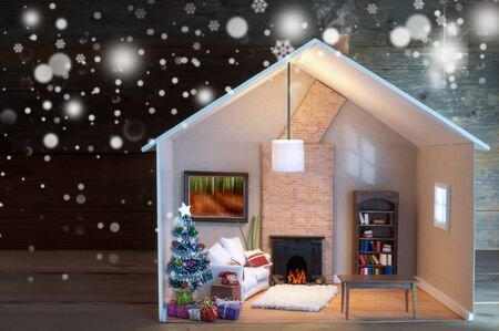 Model house christmas day living room setting with gifts around a tree and fireplace