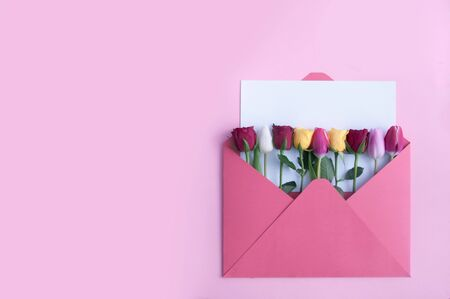 Assorted flowers inside and envelope with a blank sheet of paper