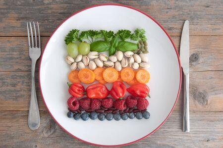 Varied vegan plant based diet ingredients including grains; nuts, fruits and vegetables
