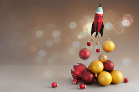 2021 new years toy rocket take off, with christmas baubles