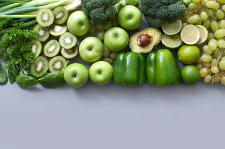 Assorted healthy fresh green fruits and vegetables