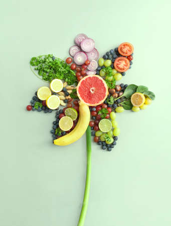 Spring flower concept, closeup of organic fruits and vegetables, summer salad ingredients