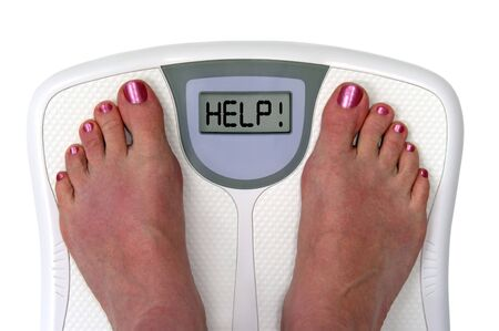 weight: Feet on a bathroom scale with the word help! on the screen. Isolated.  Includes clipping path.