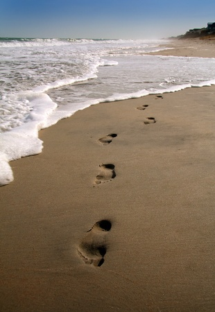 Footprints in the sand along the shore Stock Photo - 9027286