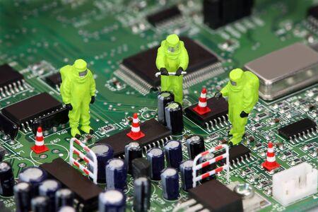 hazmat: Immagine di concetto su come elettronica pu� essere pericolosi per il nostro ambiente, se non riciclati correttamente. Archivio Fotografico