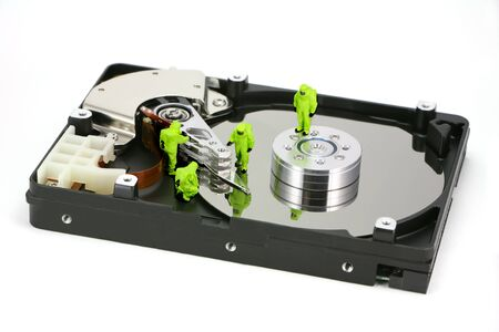 Concept image of a HAZMAT (Hazardous Materials) team closely inspecting a hard drive for viruses, spyware and trojans.