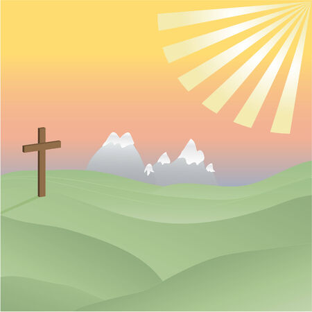 easter cross: Cross in a Sunny Valley