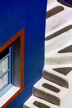 A bold, abstract view of village steps on the island of Santorini, Greece