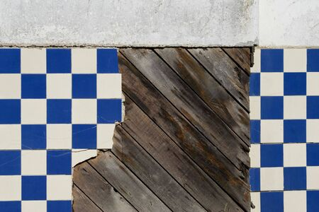 A decrepit old tile wall of a historic building on the central coast of California Stock fotó