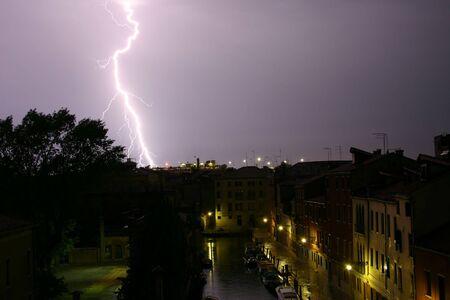 Lightning strikes near Venice, Italy Stock fotó
